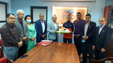 Photo of NOC handed over sports equipment to Olympic athlete Parki